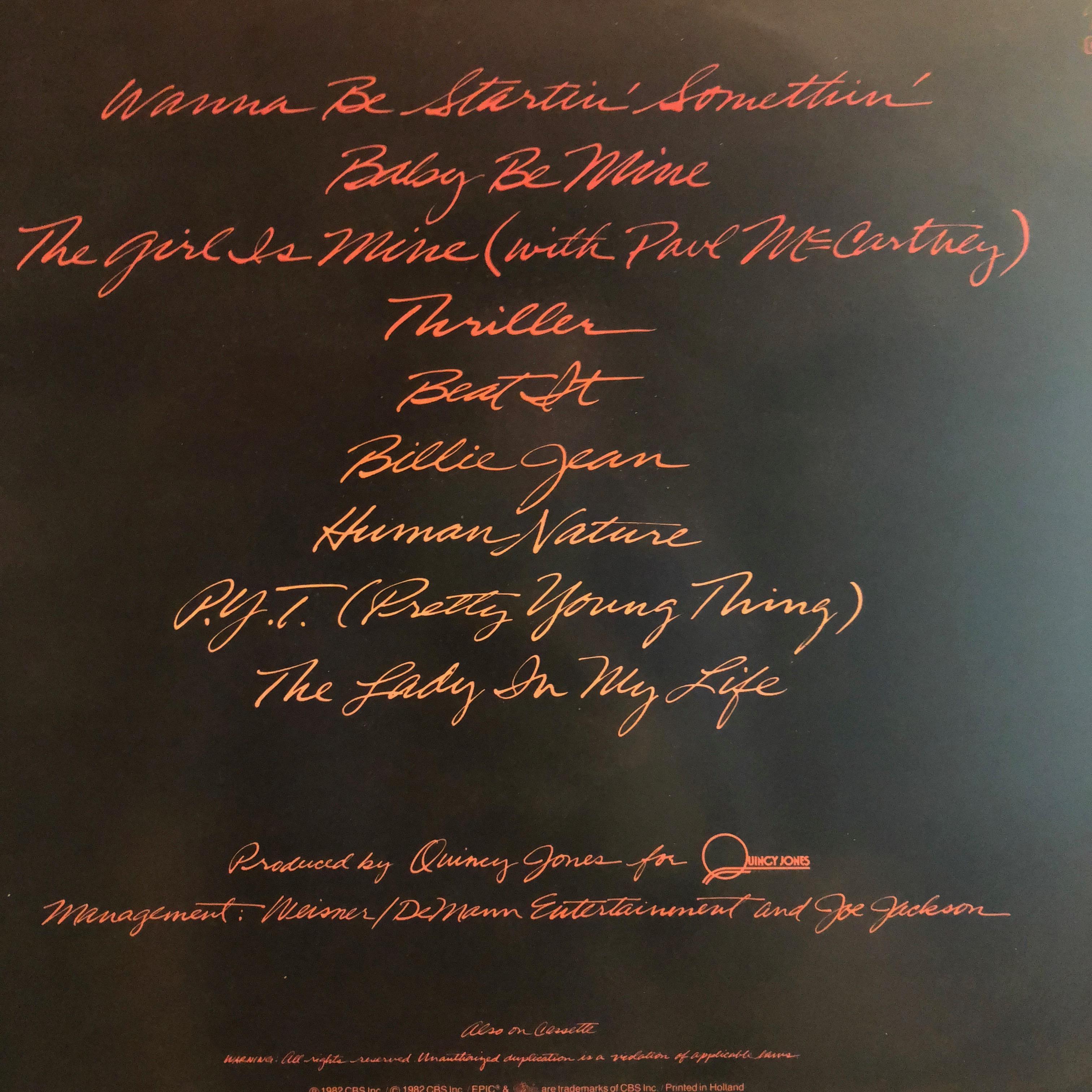 Michael Jackson - Thriller - Cover Back