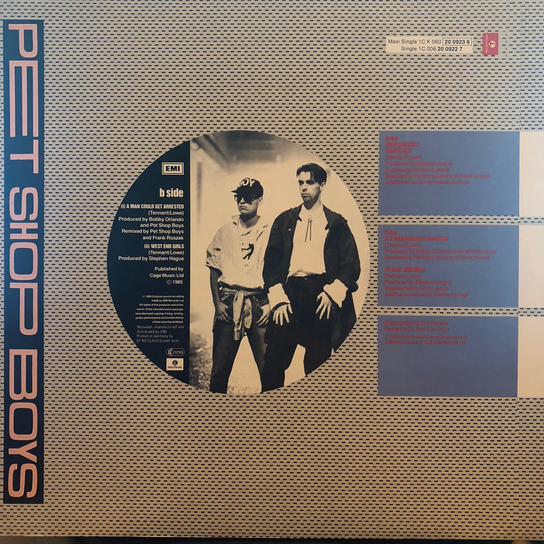 Pet Shop Boys - West End Girls - Back Cover