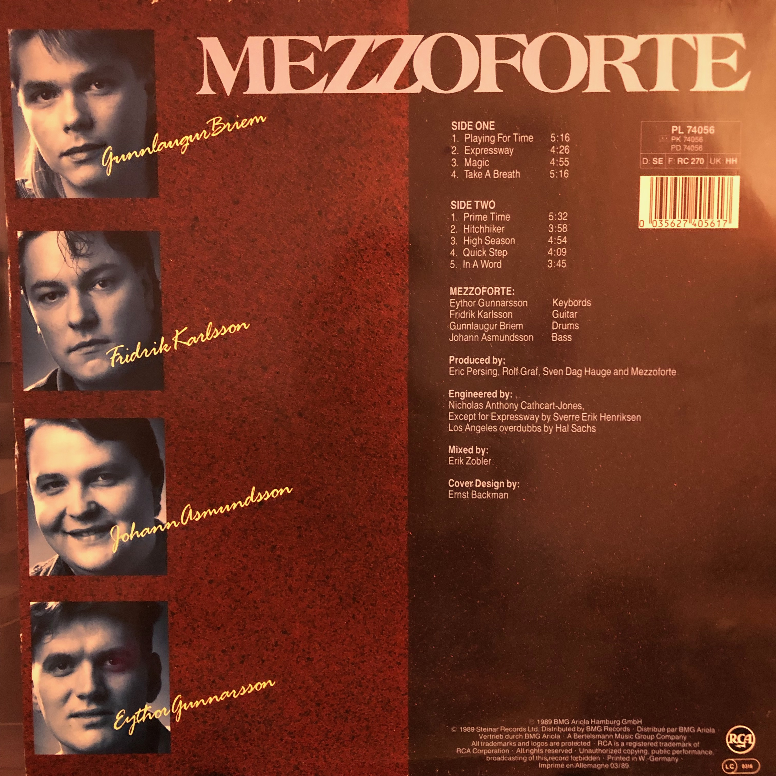Mezzoforte - Playing for time - Back Cover